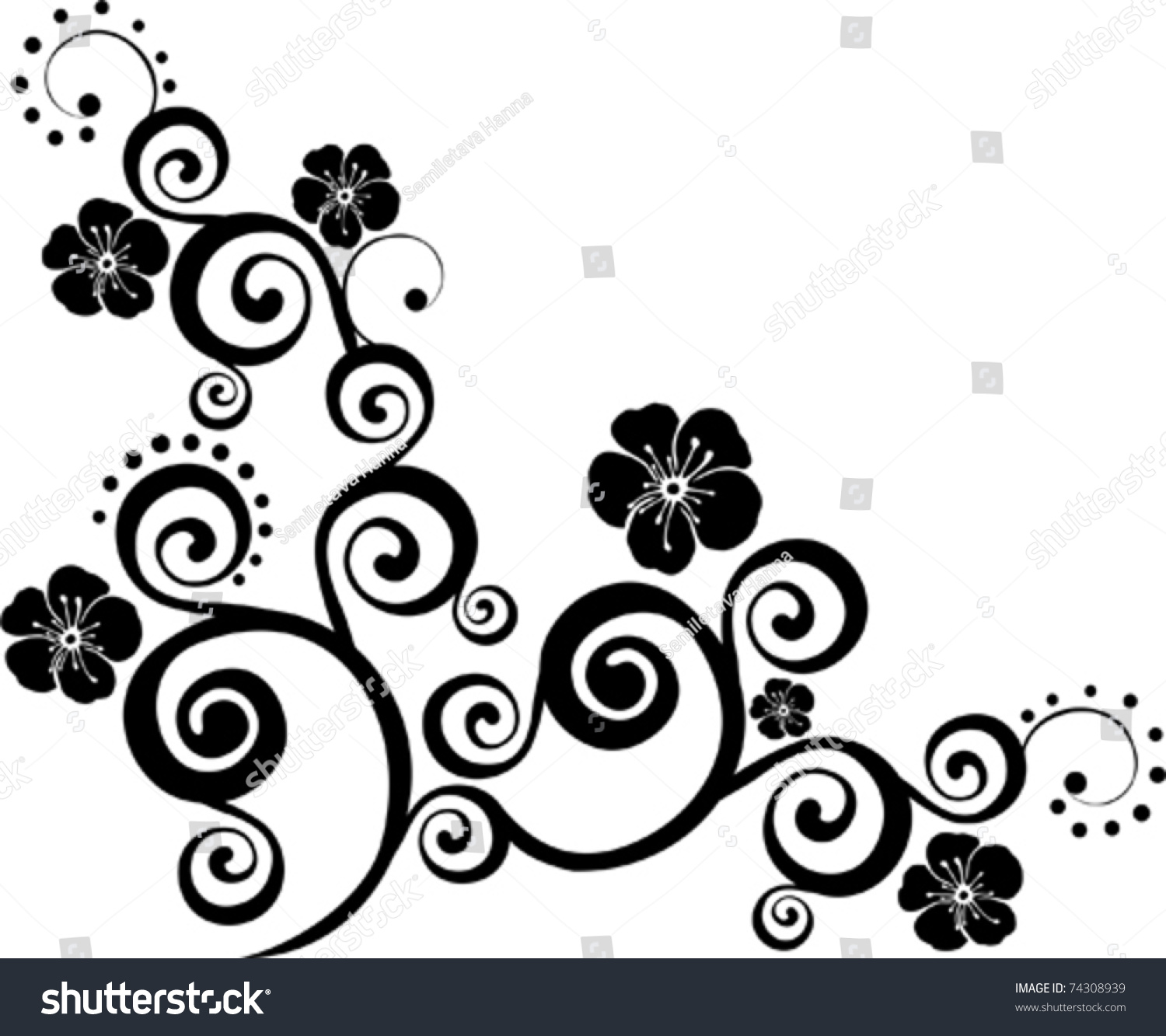 Black Flower Isolated White Background Stock Vector Shutterstock