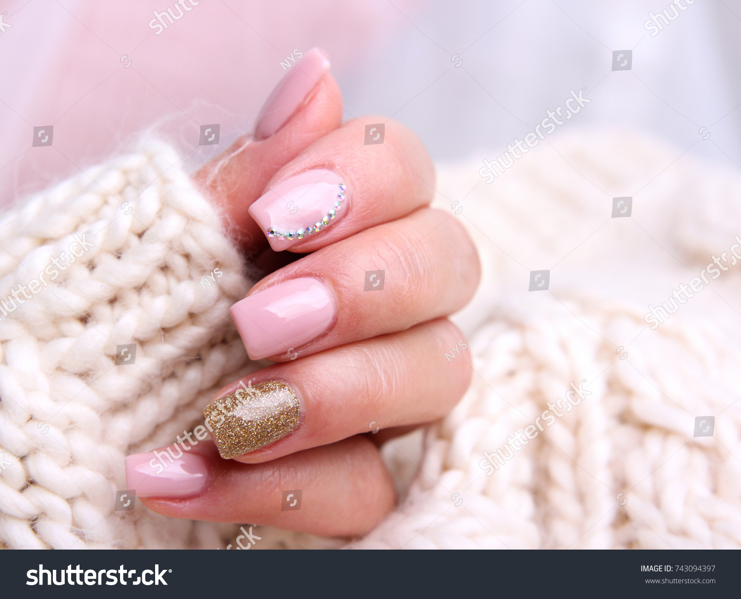 Nail Design Winter Soft Pink Color Manicure Stock Photo Edit Now