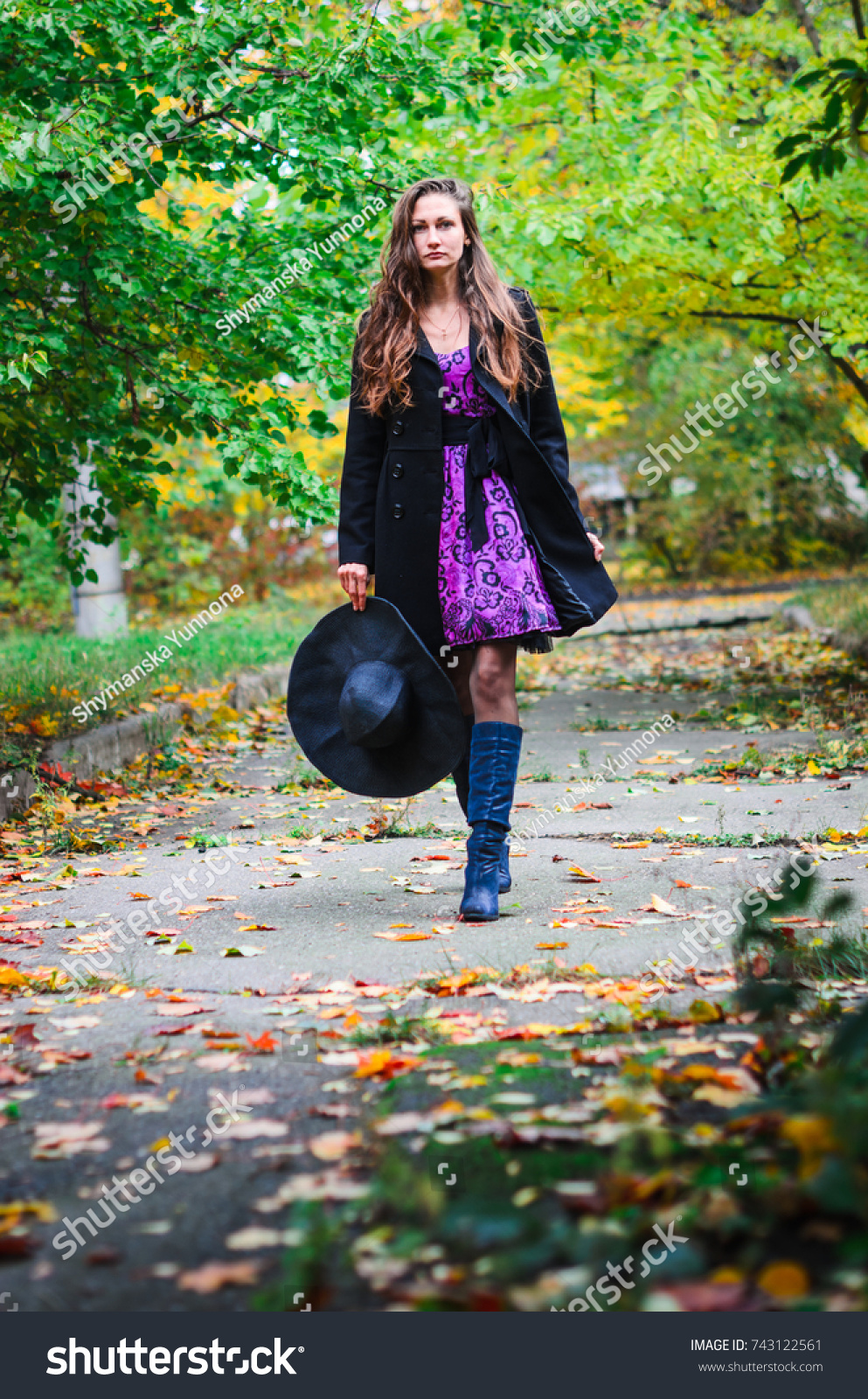 c858dccbf Young Girl Classic Black Coat Blue Stock Photo (Edit Now) 743122561 ...