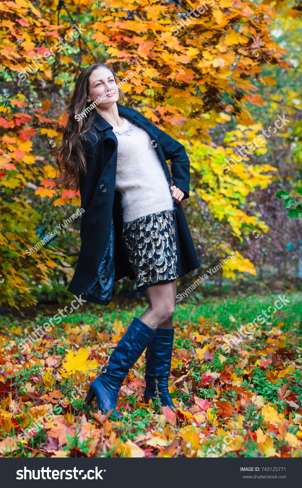 6f3d536a5 Young Girl Classic Black Coat Blue Stock Photo (Edit Now) 743125771 ...