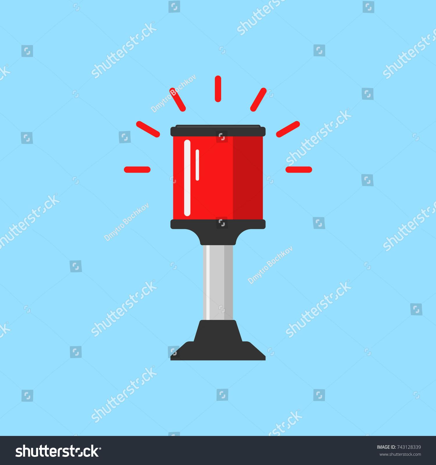 Flashing Red Alarm Signal Flasher Alert Stock Illustration 743128339 Simple Ac Light Bulb Icon Flat