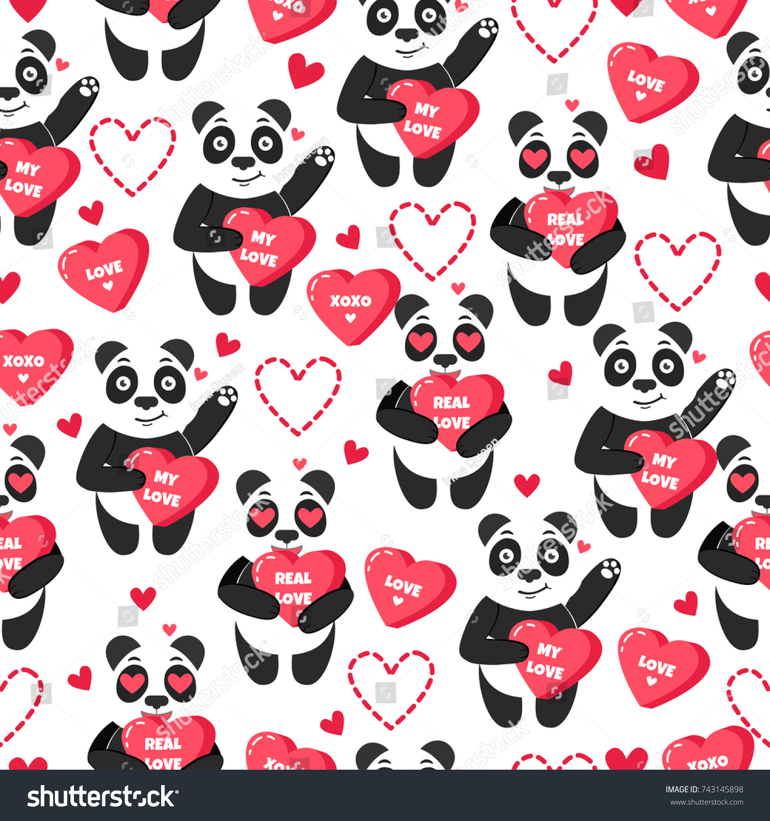 Cute vector background panda sweet hearts stock vector 743145898 cute vector background with panda sweet hearts and love happy valentines day holiday thecheapjerseys Images