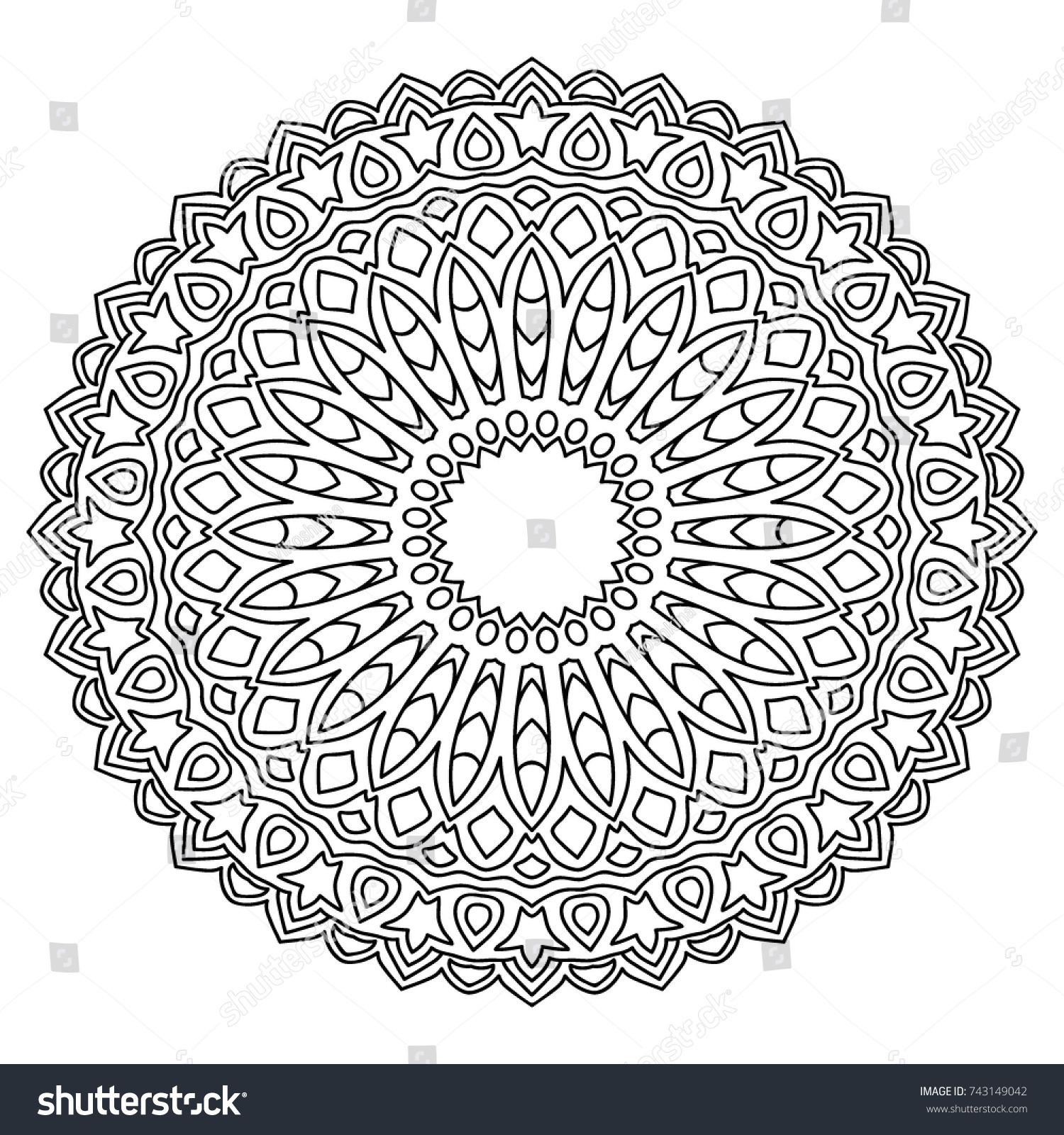 Delicate Snowflake Adult Coloring Book Page Stock Vector 743149042 ...