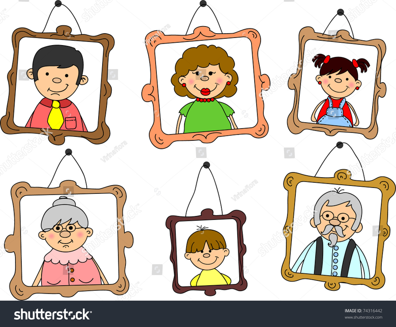 Portraits Family Members Mother Father Daughter Stock Vector ...