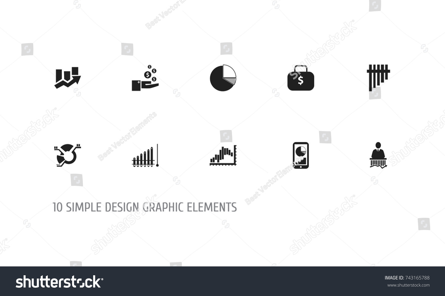 Set 10 Editable Statistic Icons Includes Stock Vector Royalty Free Schema Of Origami Mobile Crane 5 Symbols Such As Upward Direction Segment