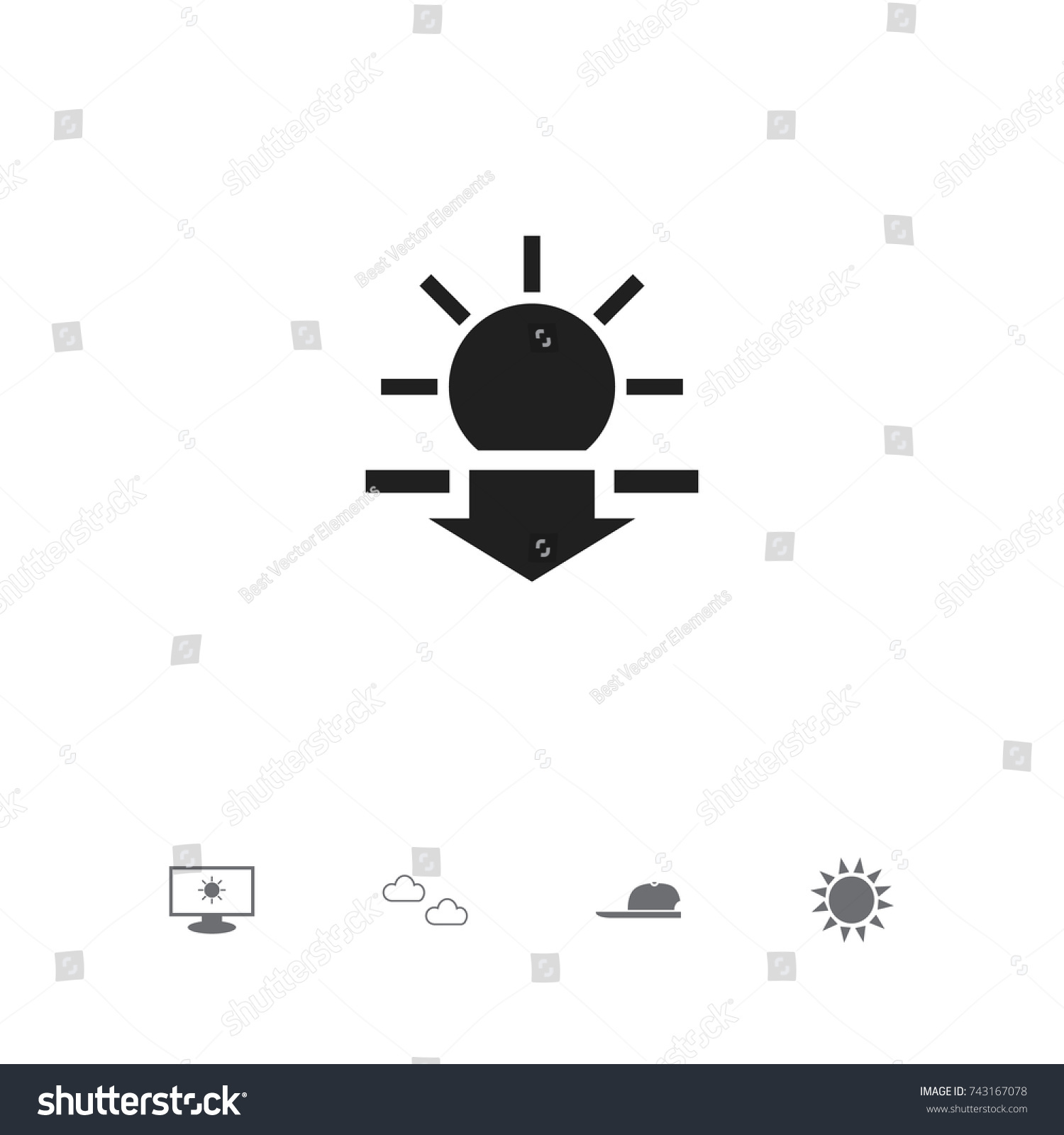Set 5 Editable Weather Icons Includes Stock Vector Royalty Free