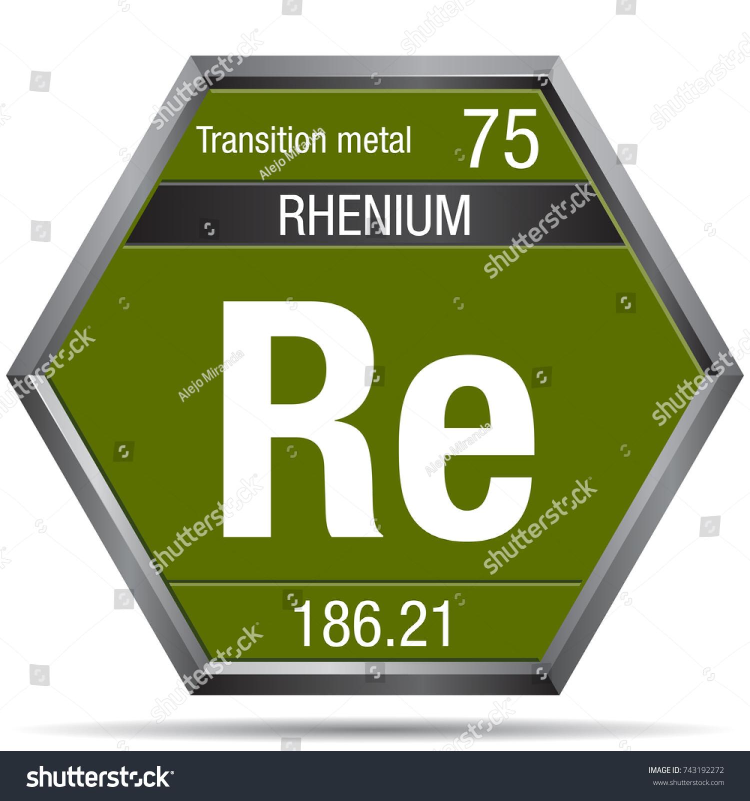 Rhenium symbol form hexagon metallic frame stock vector 743192272 rhenium symbol in the form of a hexagon with a metallic frame element number 75 gamestrikefo Choice Image