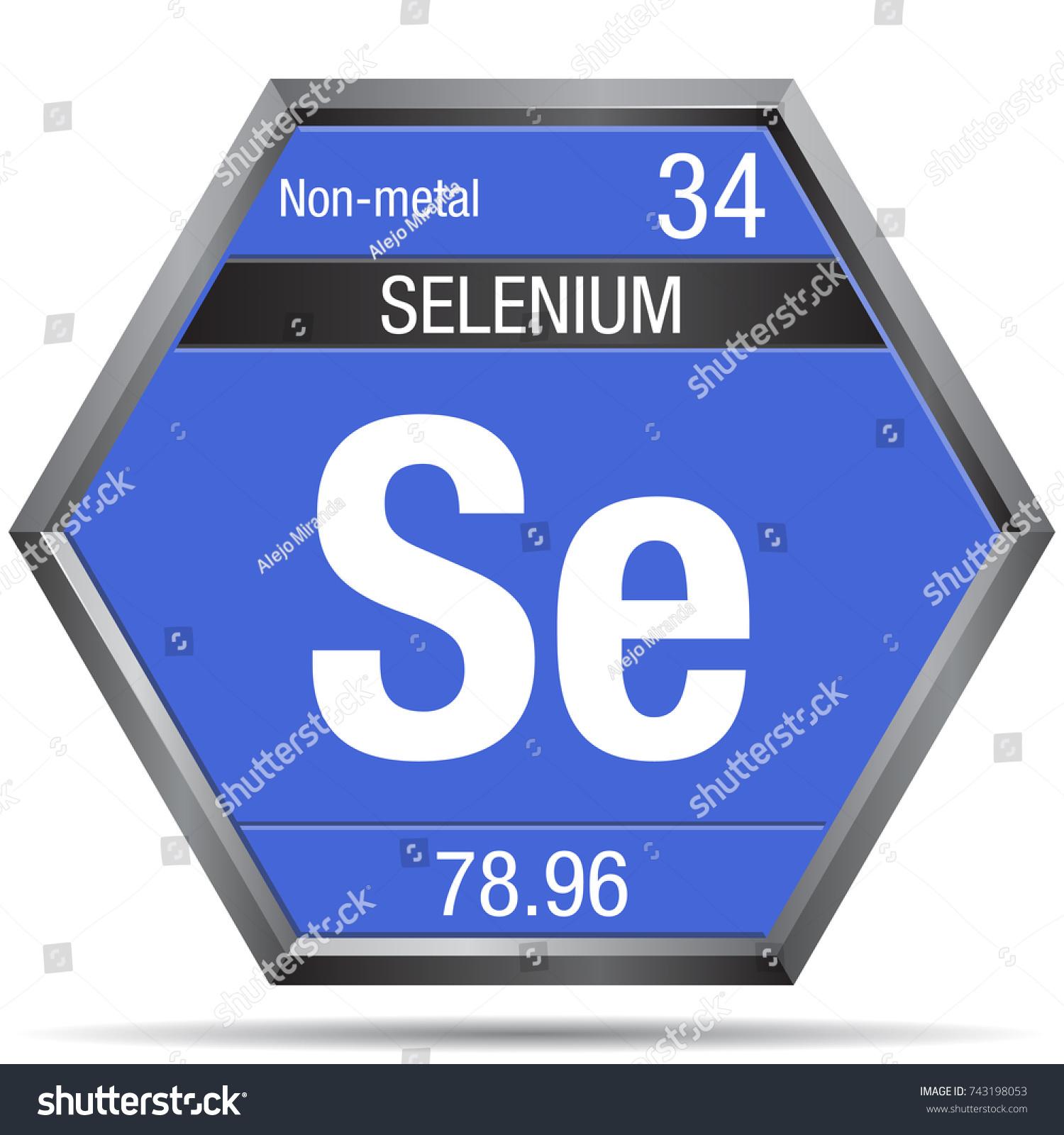 Selenium symbol form hexagon metallic frame stock vector 743198053 selenium symbol in the form of a hexagon with a metallic frame element number 34 buycottarizona