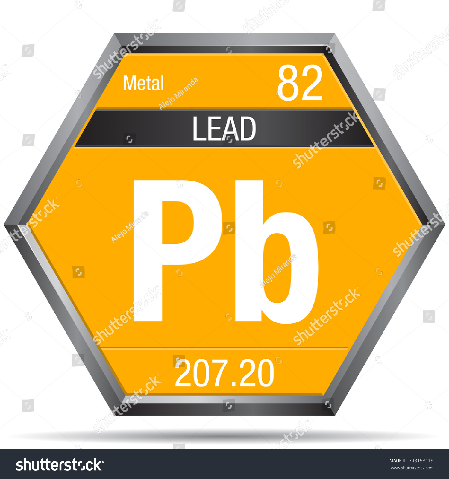 Periodic table symbol for lead images symbol and sign ideas lead symbol form hexagon metallic frame stock vector 743198119 lead symbol in the form of a urtaz Gallery