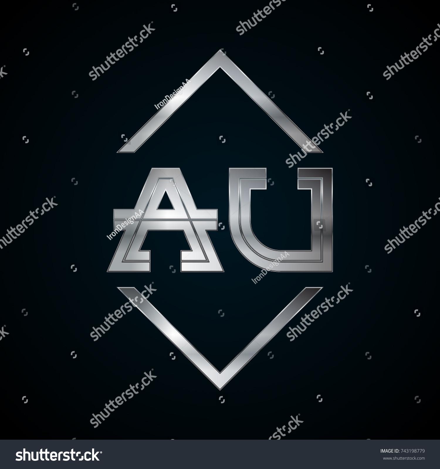 Au Monogram Metal Logo Silver Logo Stock Vector Royalty Free
