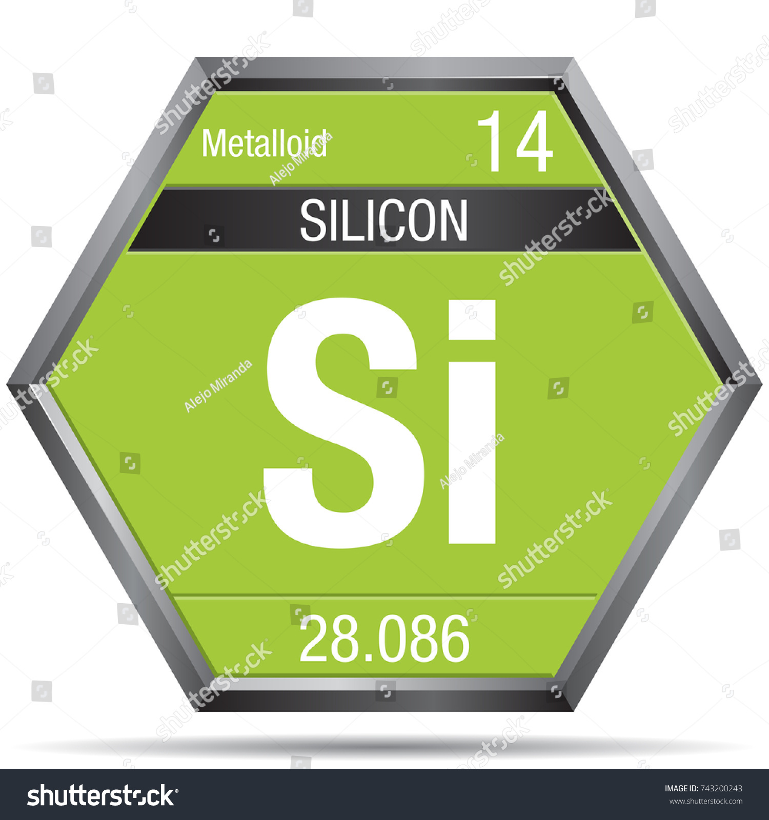 Silicon symbol form hexagon metallic frame stock vector 743200243 silicon symbol in the form of a hexagon with a metallic frame element number 14 gamestrikefo Gallery