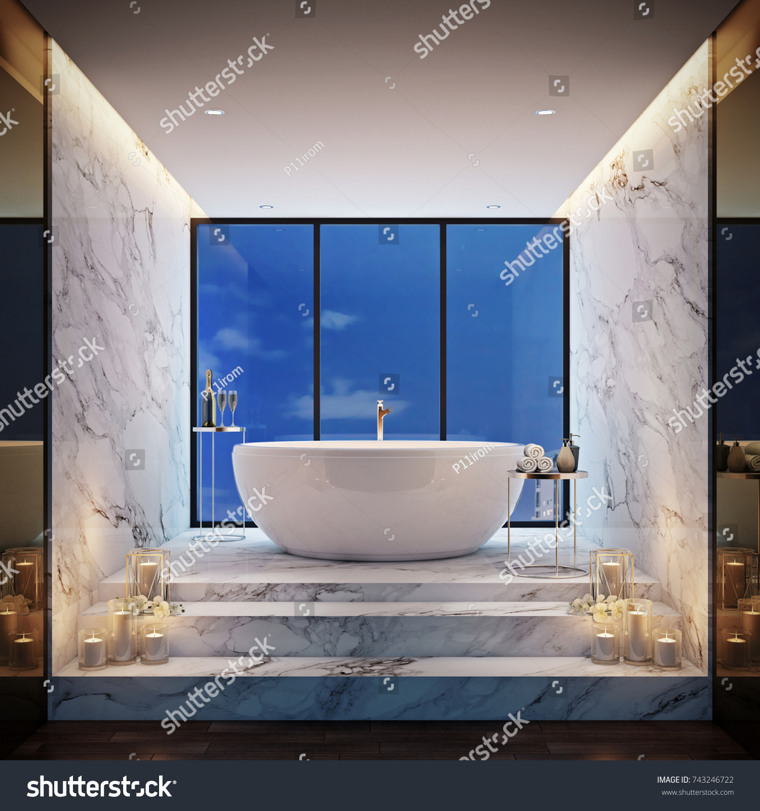 Luxury Jacuzzi Bath Take Sky View Stock Illustration 743246722 ...