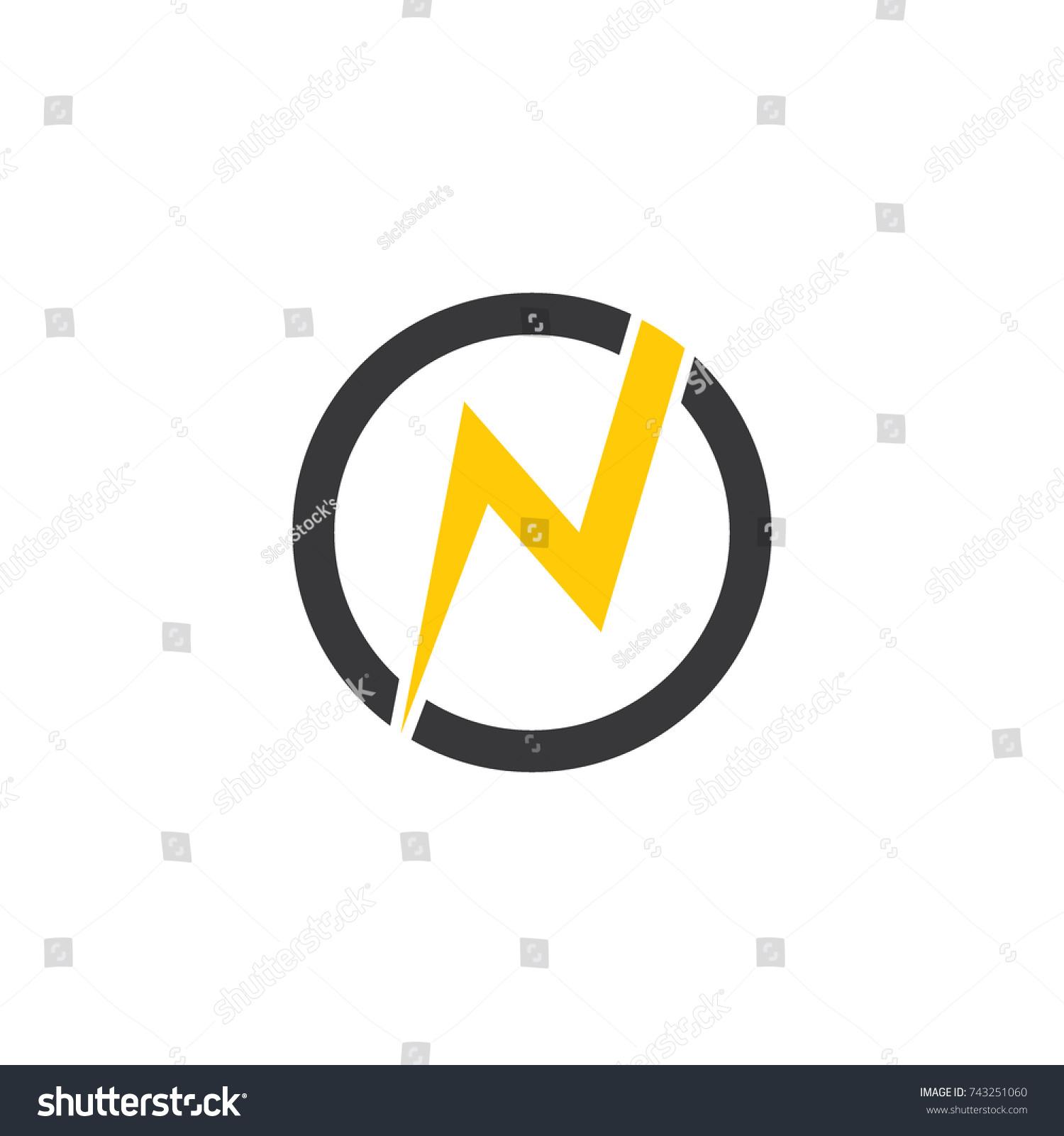 Letter N Thunder Symbol Circle Logo Stock Vector Royalty Free