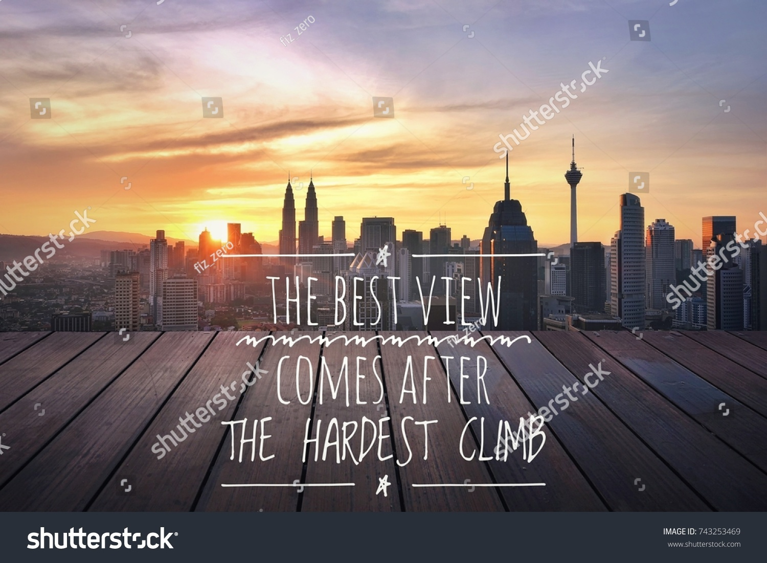 Inspirational Motivation Quotes Background Cityscape Sunset Stock