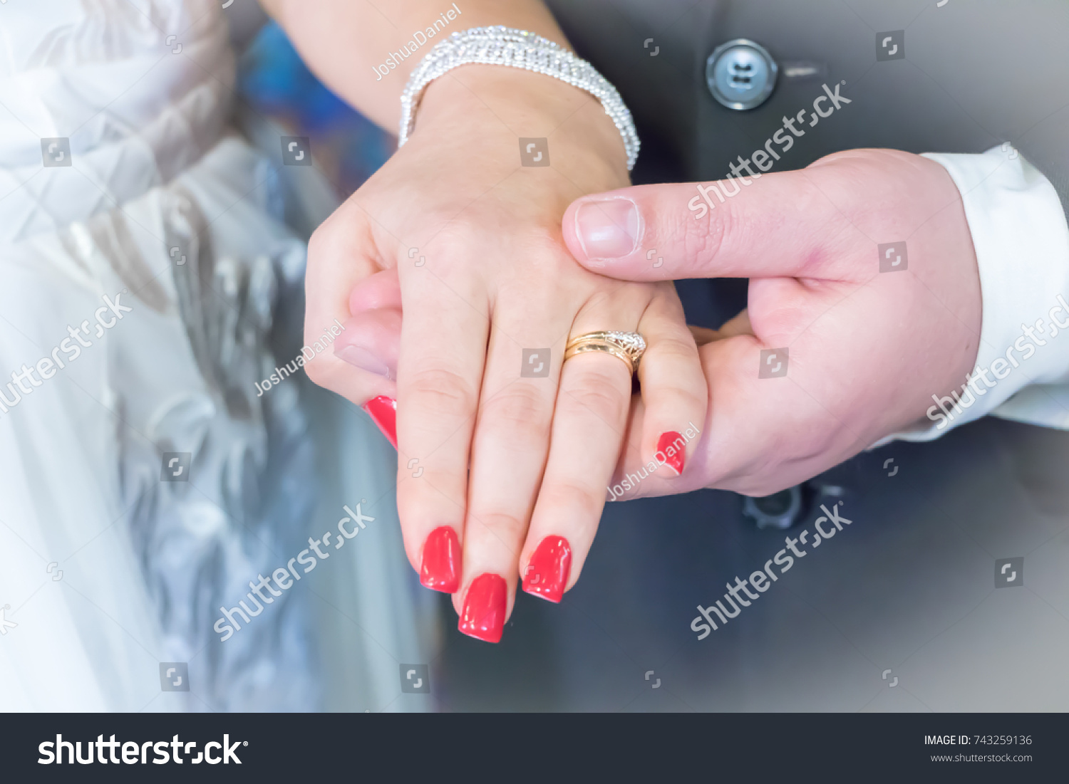 Gold Wedding Ring Couples Hand Red Stock Photo (Download Now ...