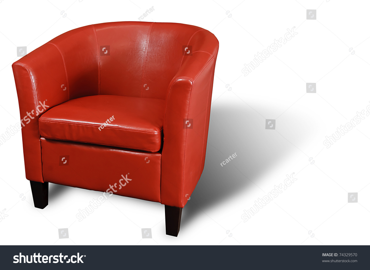 Bright Red Leather Armchair Isolated On White With A Drop Shadow.