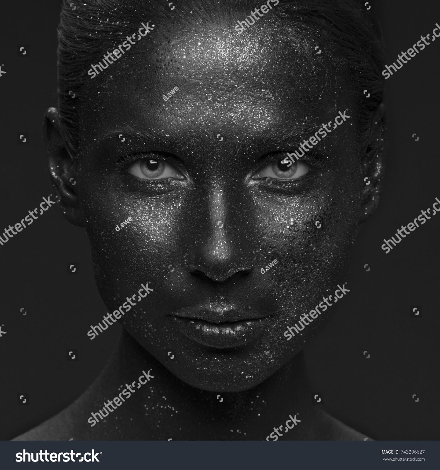 Closeup Girl Face Sparkle Paint Art Stock Photo Edit Now 743296627