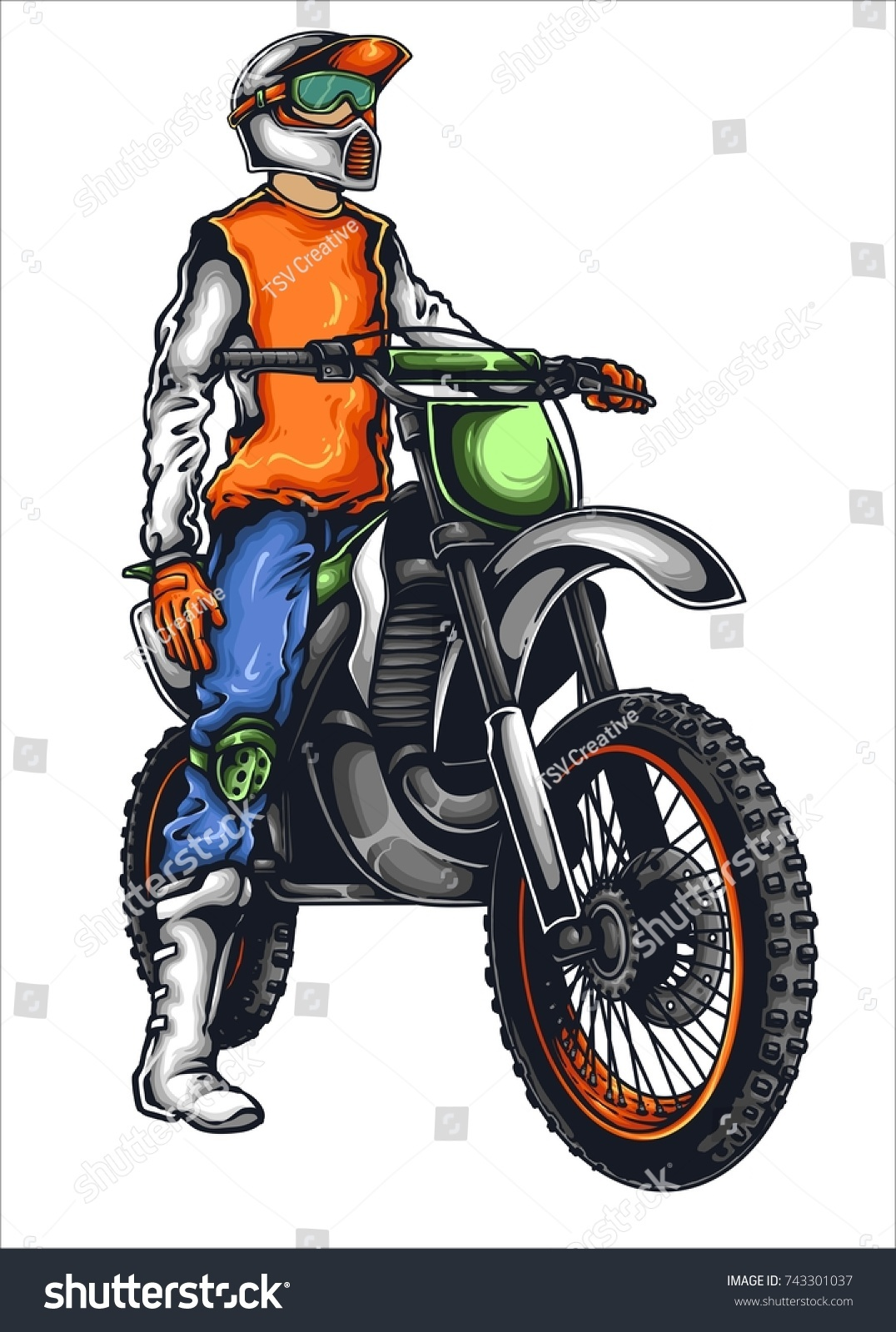 Vector Illustration Man Motor Trail Stock Vector Royalty