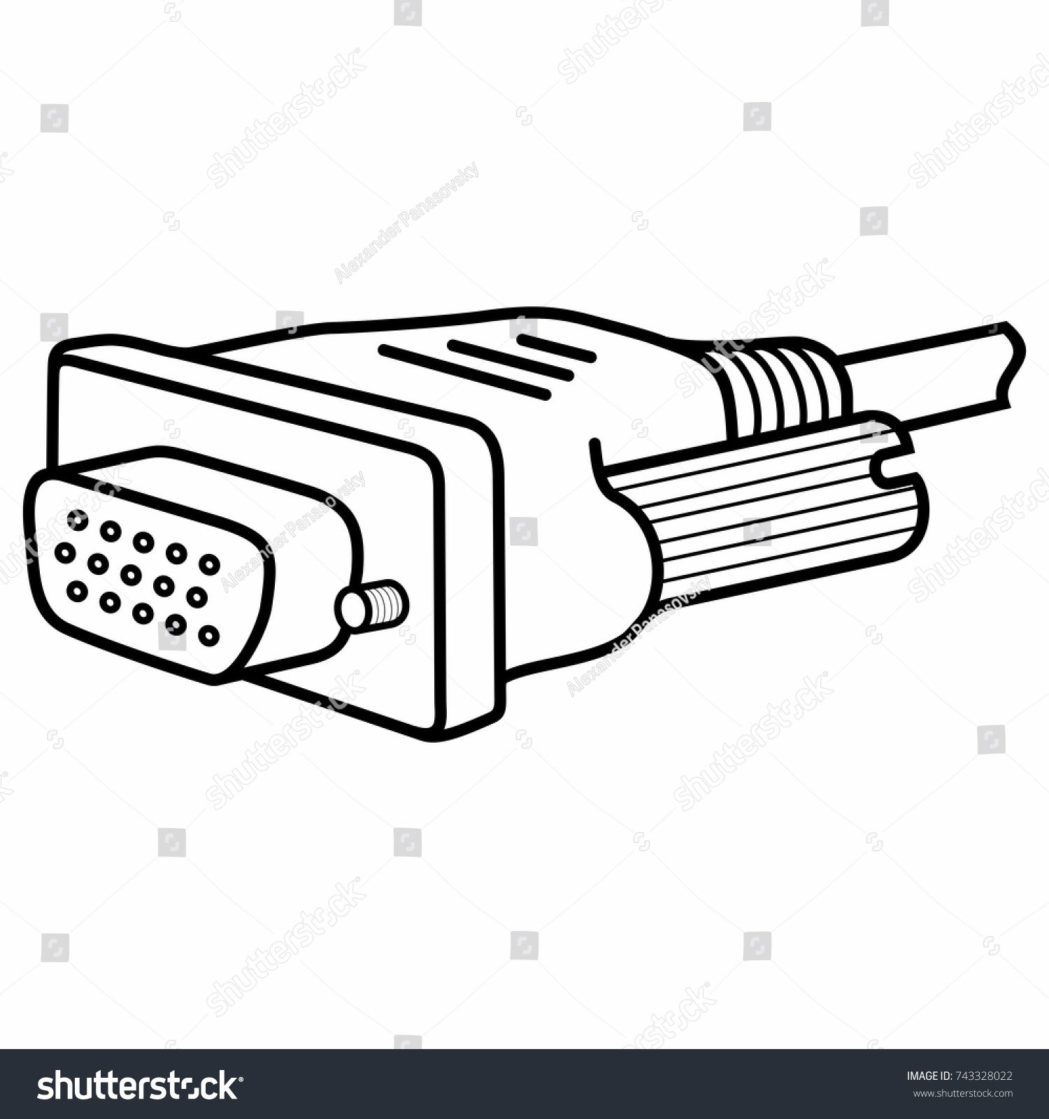Vga Connector Pc Computer Monitor Cable Stock Vector Royalty Free Video Connectors Graphics Array Analog