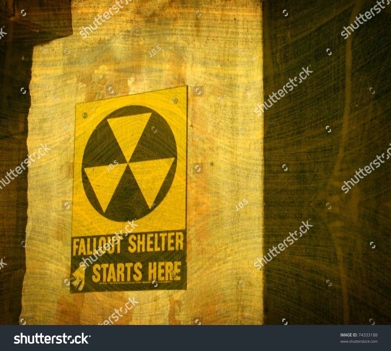 Aged Vintage Fallout Shelter Sign Underground Stock Photo Image