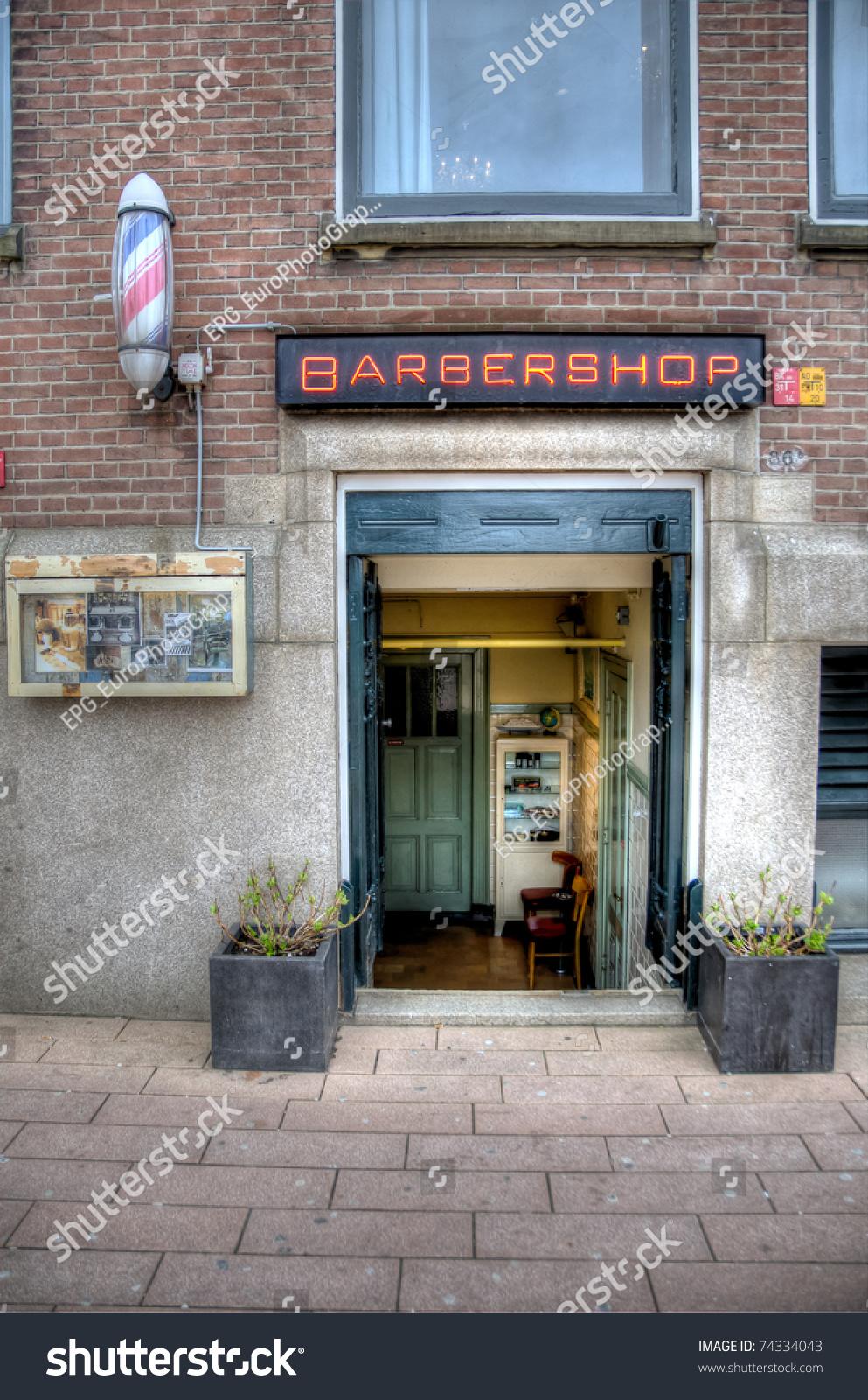 Old Barber Shop Window - Old barber shop entrance rotterdam the netherlands