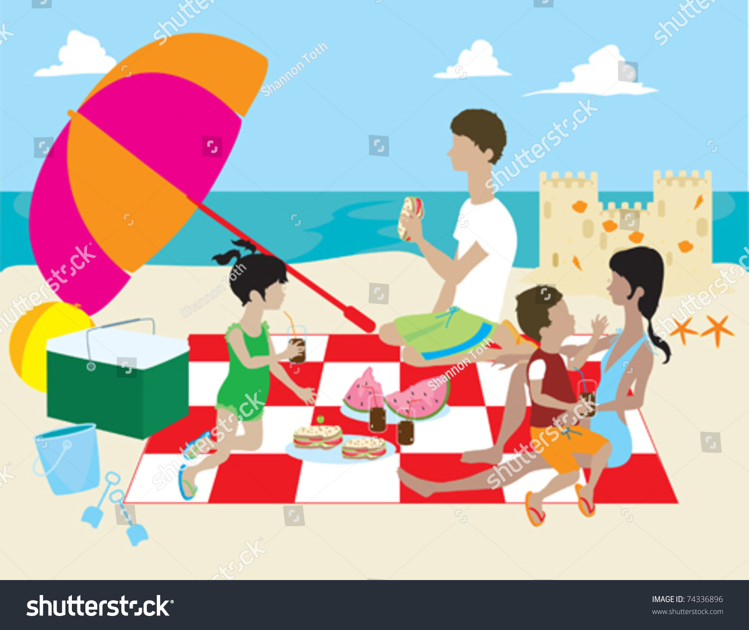 Family Having Picnic On Beach Stock Vector 74336896 ...