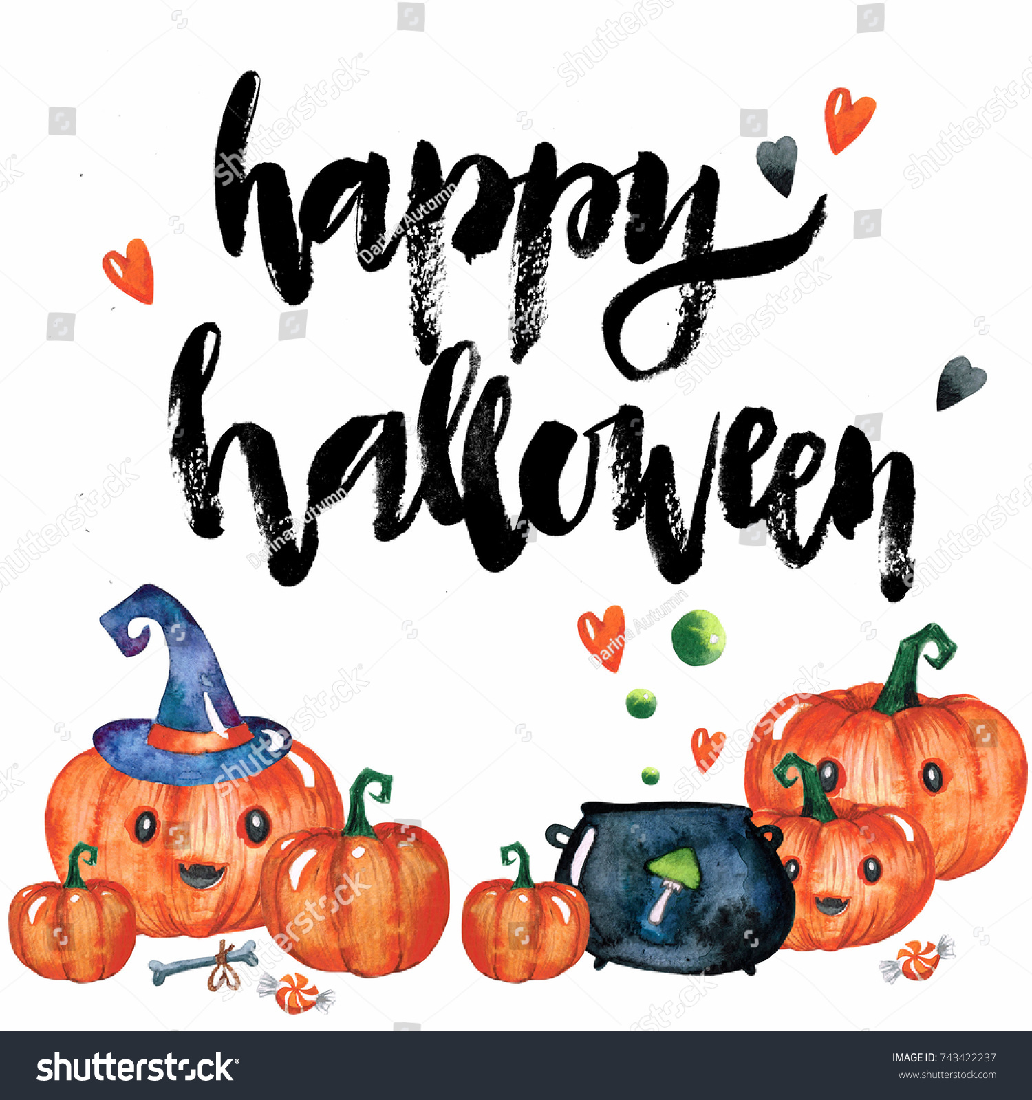 watercolor halloween set on white background stock illustration