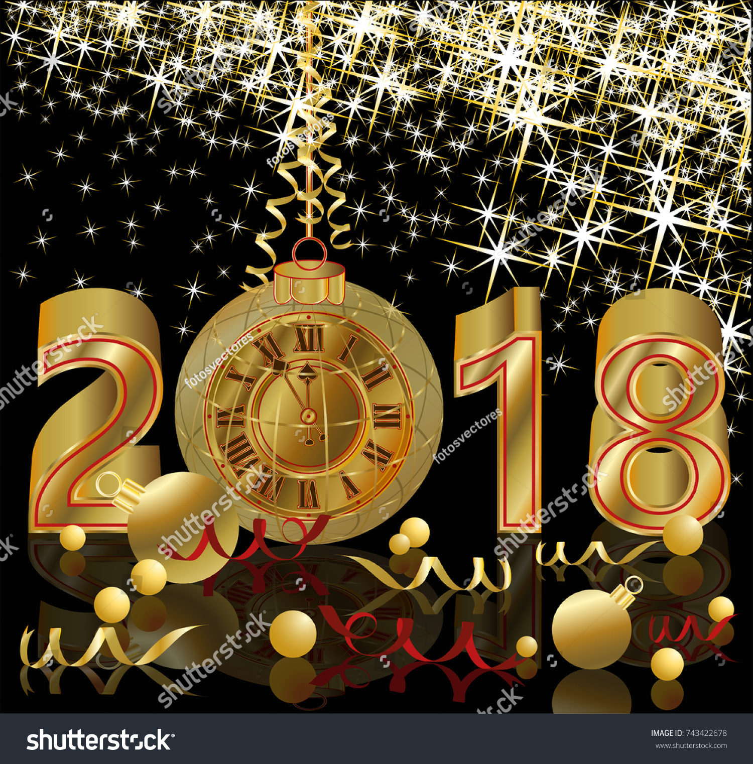 happy new 2018 year with golden clock wallpaper vector illustration