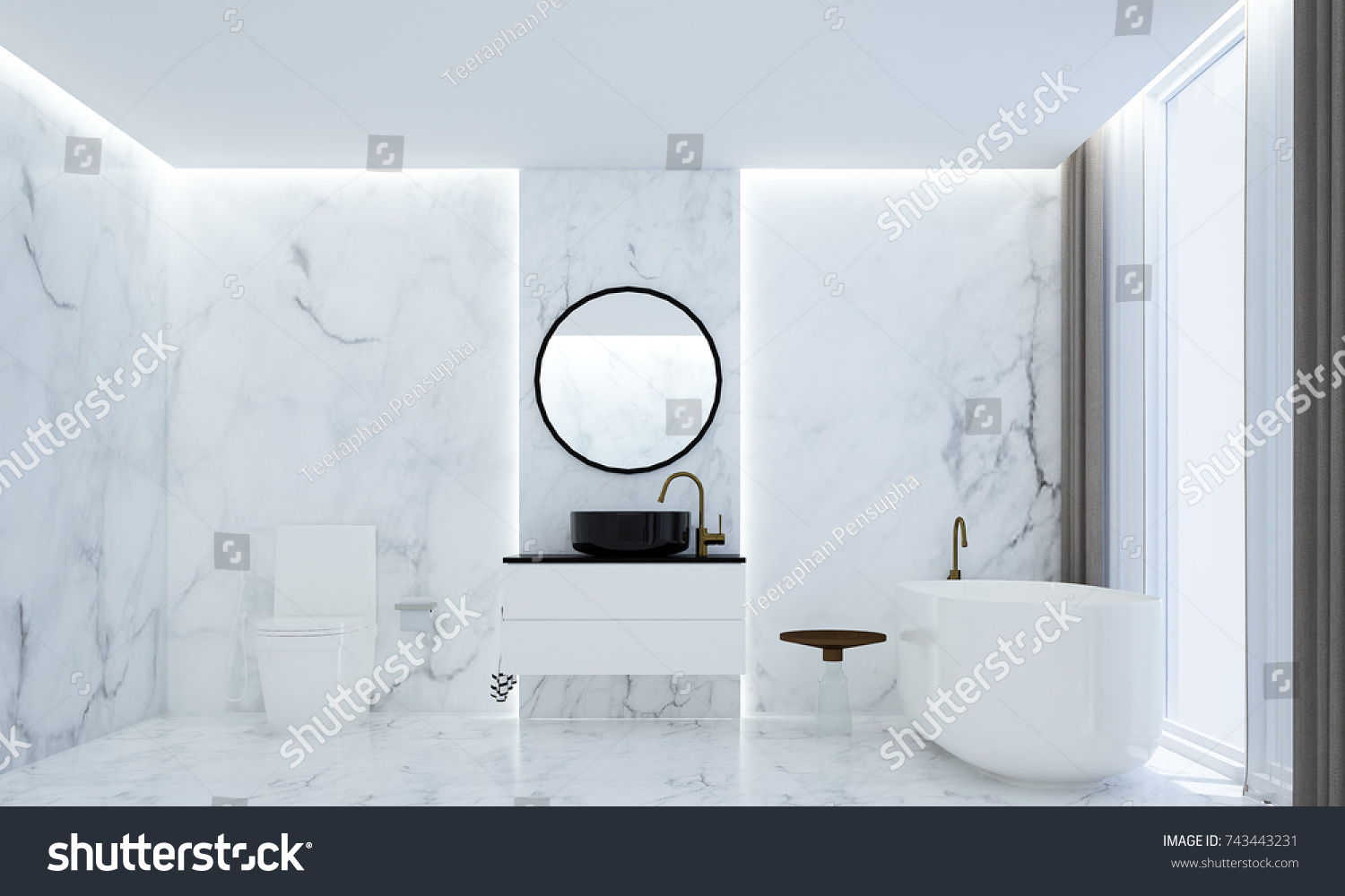 The Luxury Bathroom Interior Design And Marble Wall Texture Background / 3D  Rendering New Scene