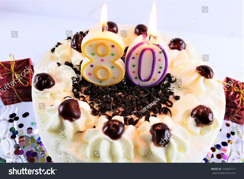 Image Birthday Cake Candle 80 Stock Photo Edit Now 743467717