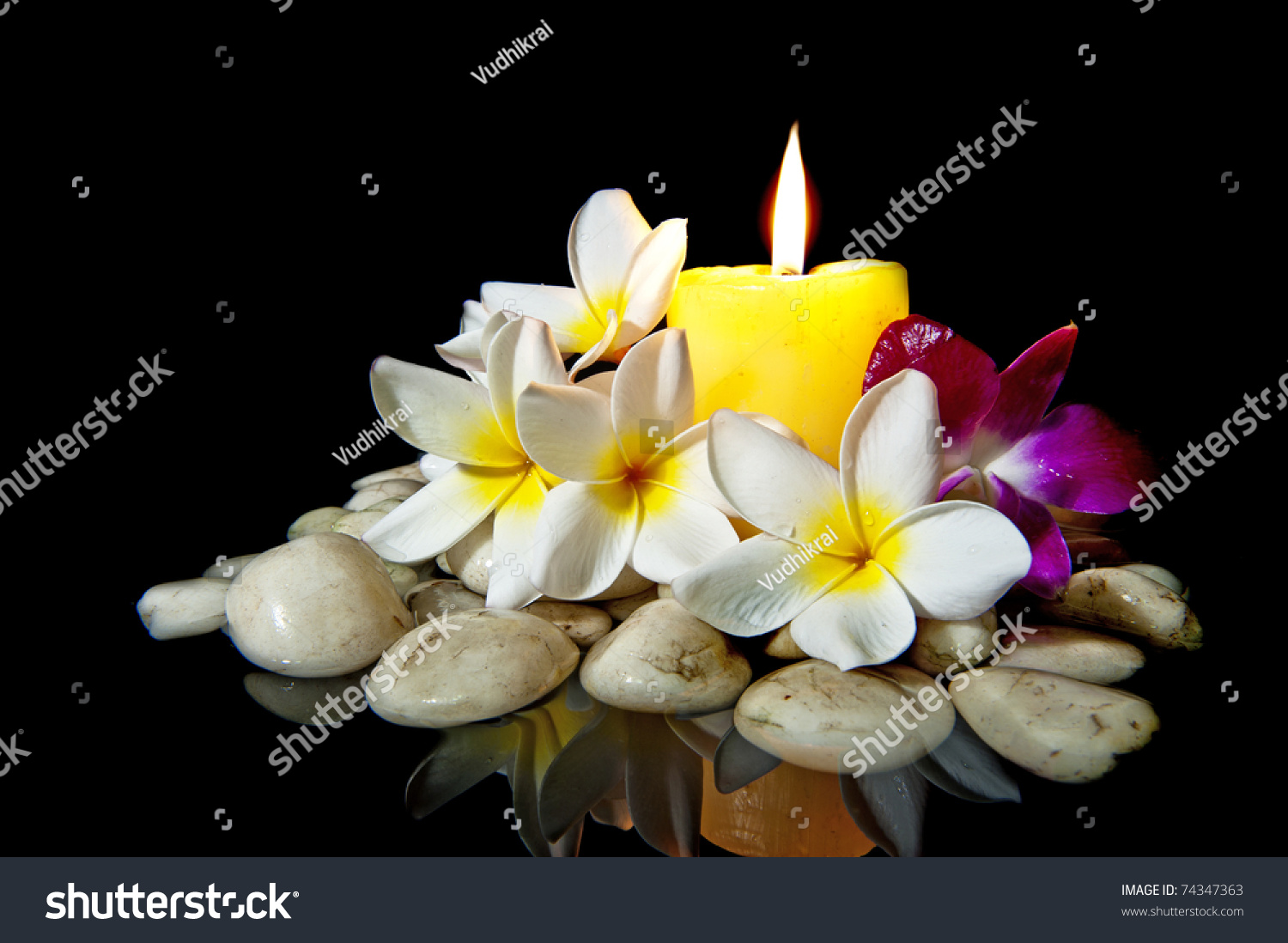 Flowers Candle White Rock Spa Use Stock Photo Edit Now 74347363