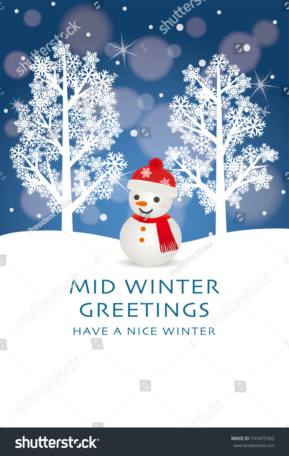 Midwinter Greeting Card Snowman Stock Vector Royalty Free