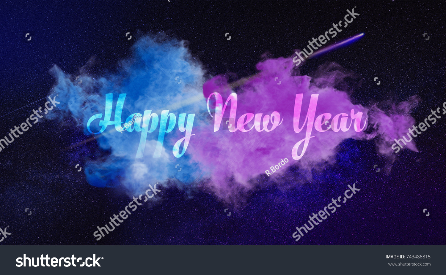 happy new year 2018 creative text in the color clouds space theme christmas card galaxy