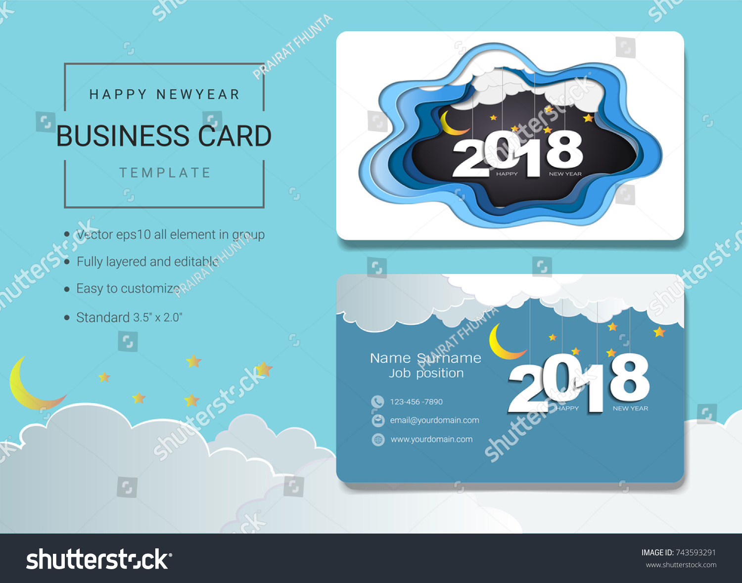 2018 Happy New Year Business Card Stock Vector 743593291 ...