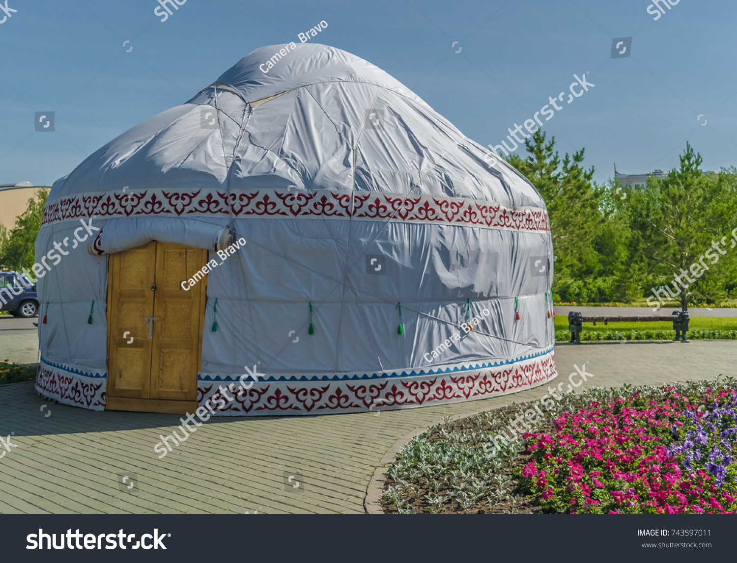 Tent house built with white canvas. Native people of indigenous people in Central Asia in & Tent House Built White Canvas Native Stock Photo 743597011 ...