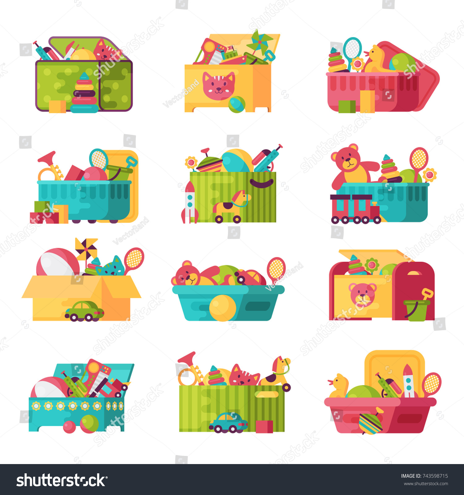 Kids Toys Box Vector Collection Baby Stock Vector