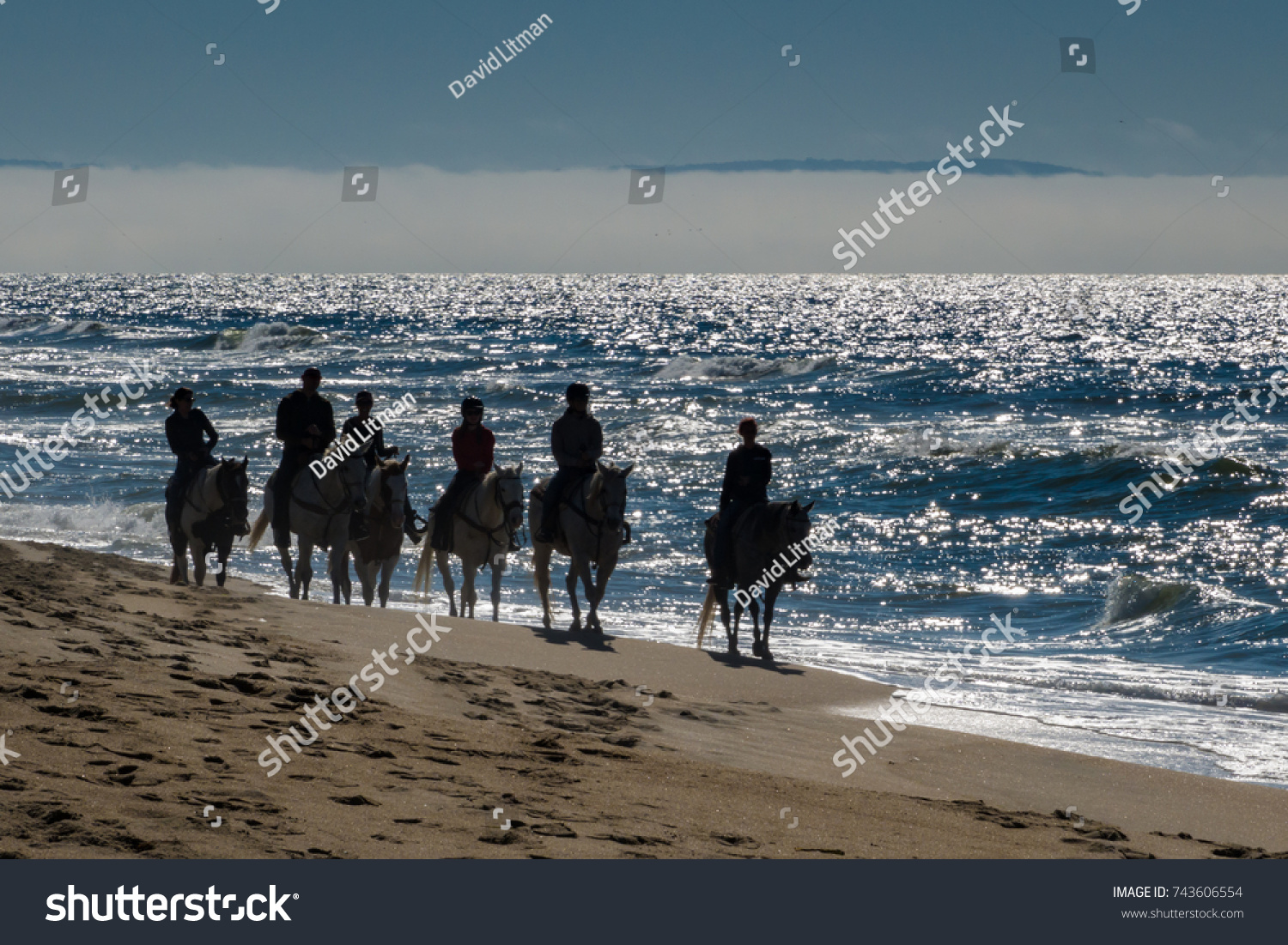 A group of people ride horse back (horseback) late in the afternoon, as a fog bank rolls in, along a sandy  Pacific coast beach in central California of Monterey Bay.