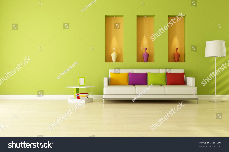 Minimalist Green Living Room Three Niche Stock Illustration 74361091 ...
