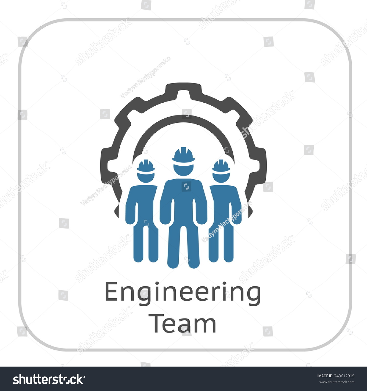Engineering Team Icon Three Men Cog Stock Vector (Royalty Free ...