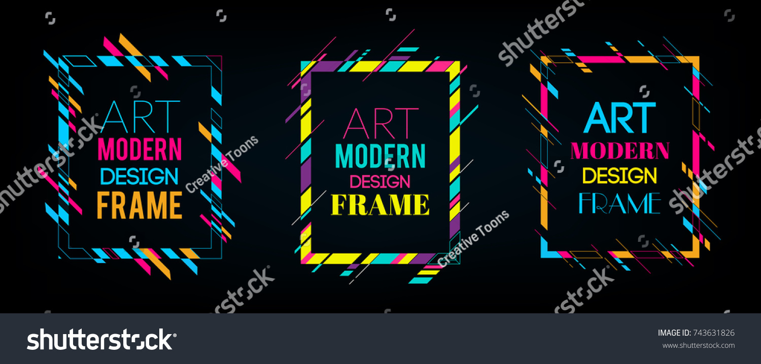 Vector frame for text Modern Art graphics. Dynamic frame with stylish  colorful abstract geometric shapes around it on a black background. Trendy neon color lines in a modern material design style. #743631826