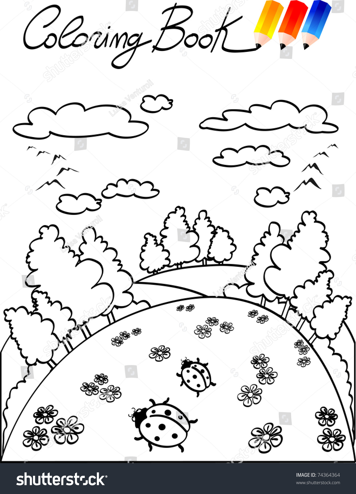 coloring book children landscapes ladybugs vector stock vector