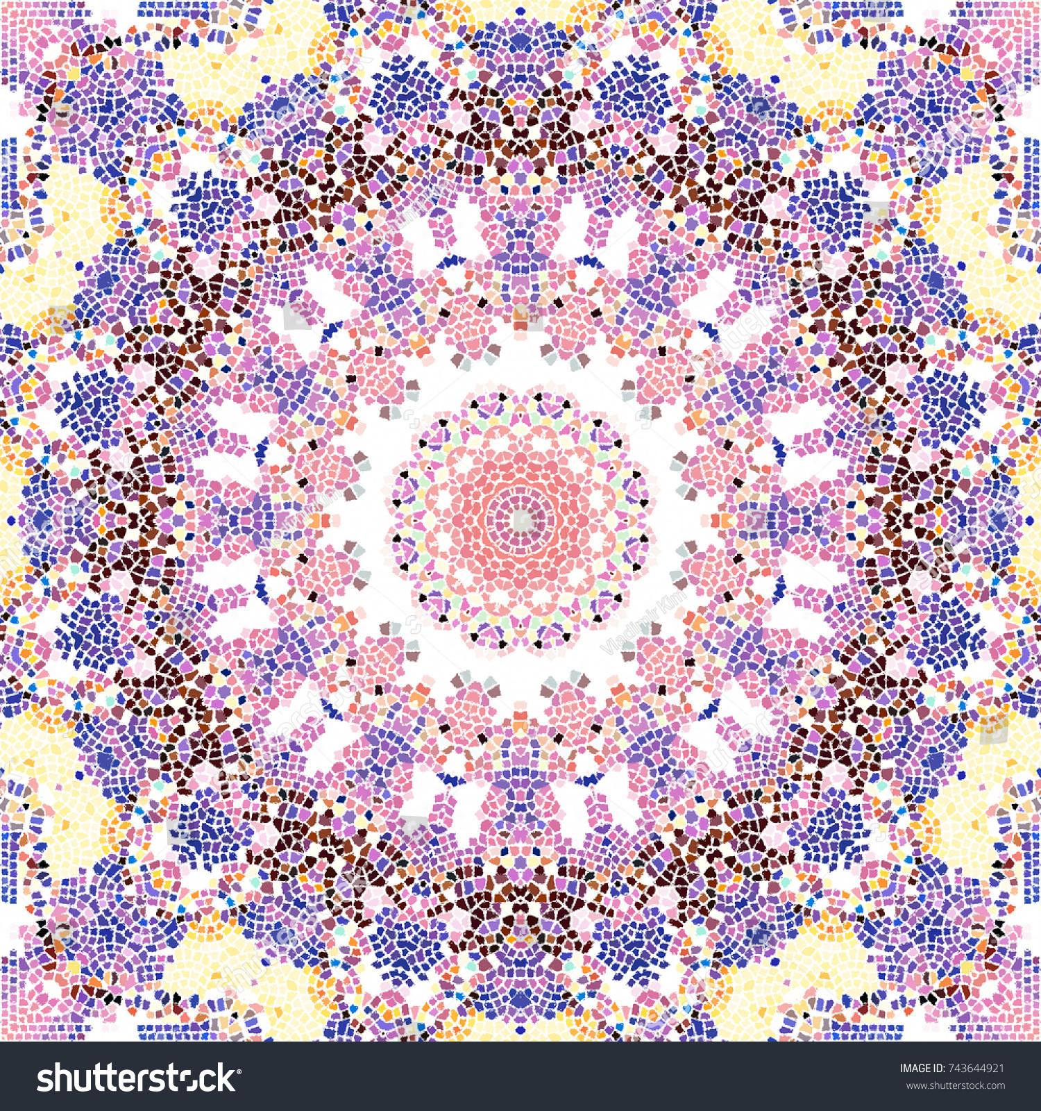 Colorful Mosaic Pattern For Textile Ceramic Tiles And Design Ez