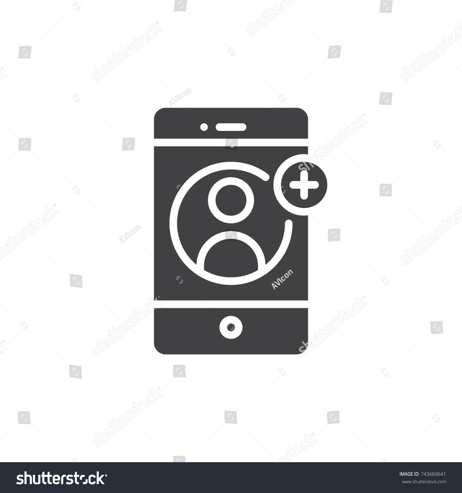 Smartphone Contact Add On Display Icon Stock Vector (Royalty Free