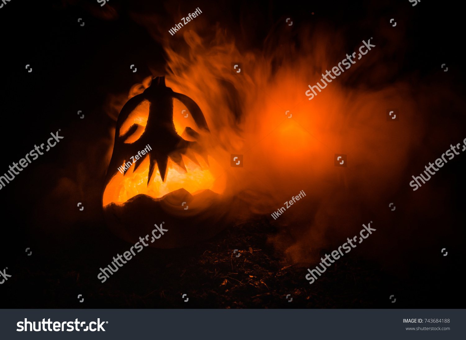 halloween pumpkins smile scrary eyes party stock photo (edit now