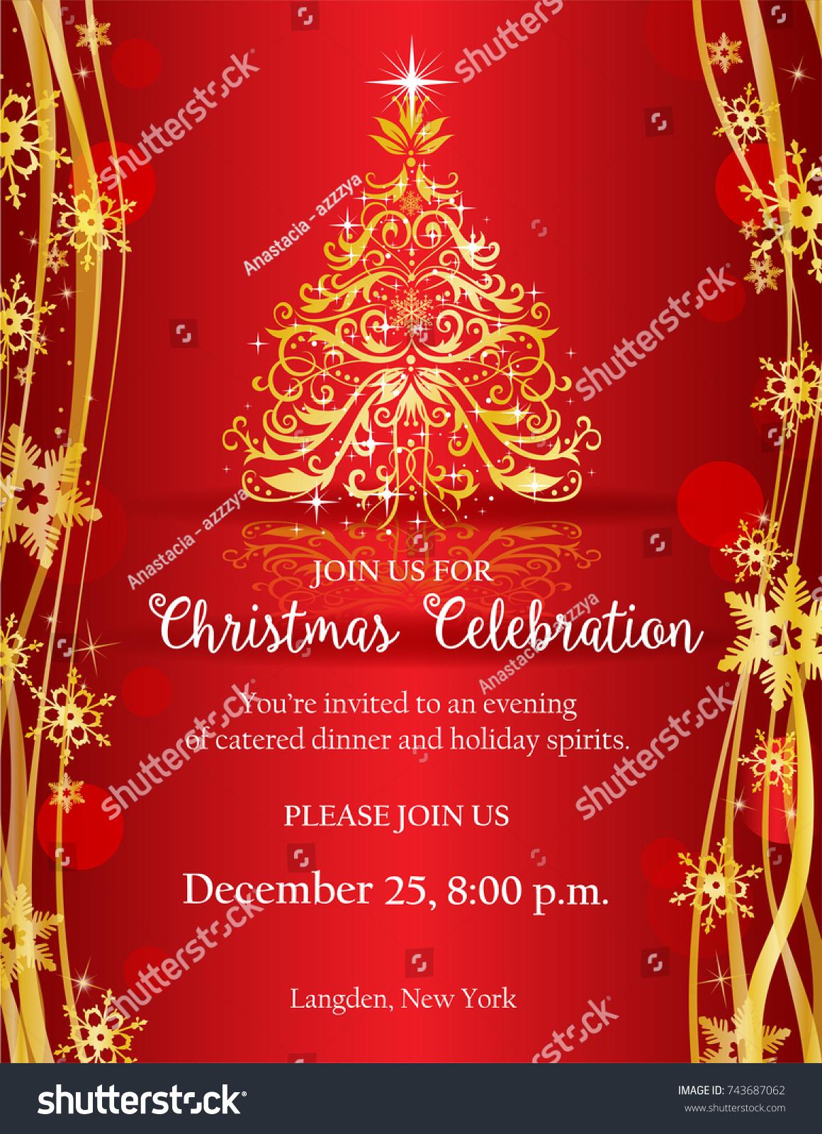 Christmas Party Invitation Ornate Golden Christmas Stock Vector