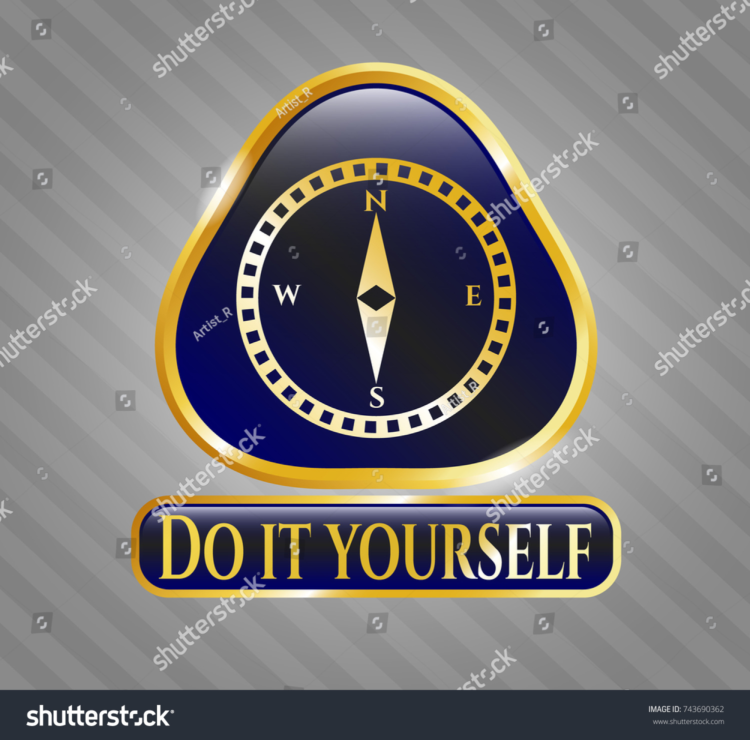 Golden badge compass icon do yourself stock vector 743690362 golden badge with compass icon and do it yourself text inside solutioingenieria Image collections