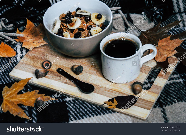 Autumn Breakfast Coffee Cereals On Wooden Stock Photo Edit Now