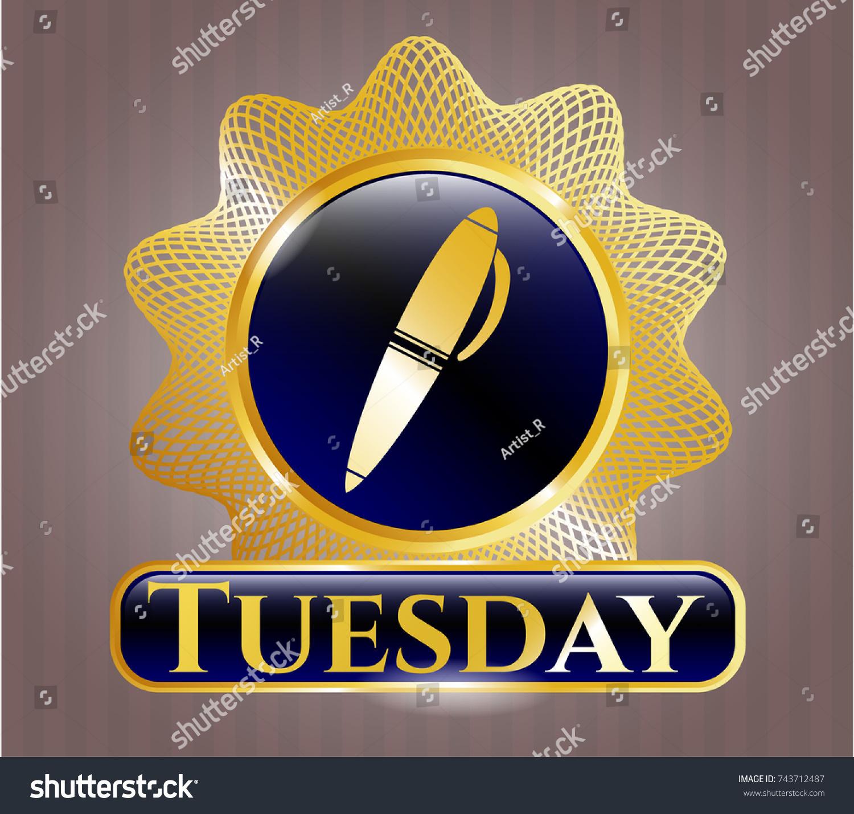 Gold badge emblem pen icon tuesday stock vector 743712487 gold badge or emblem with pen icon and tuesday text inside biocorpaavc Choice Image