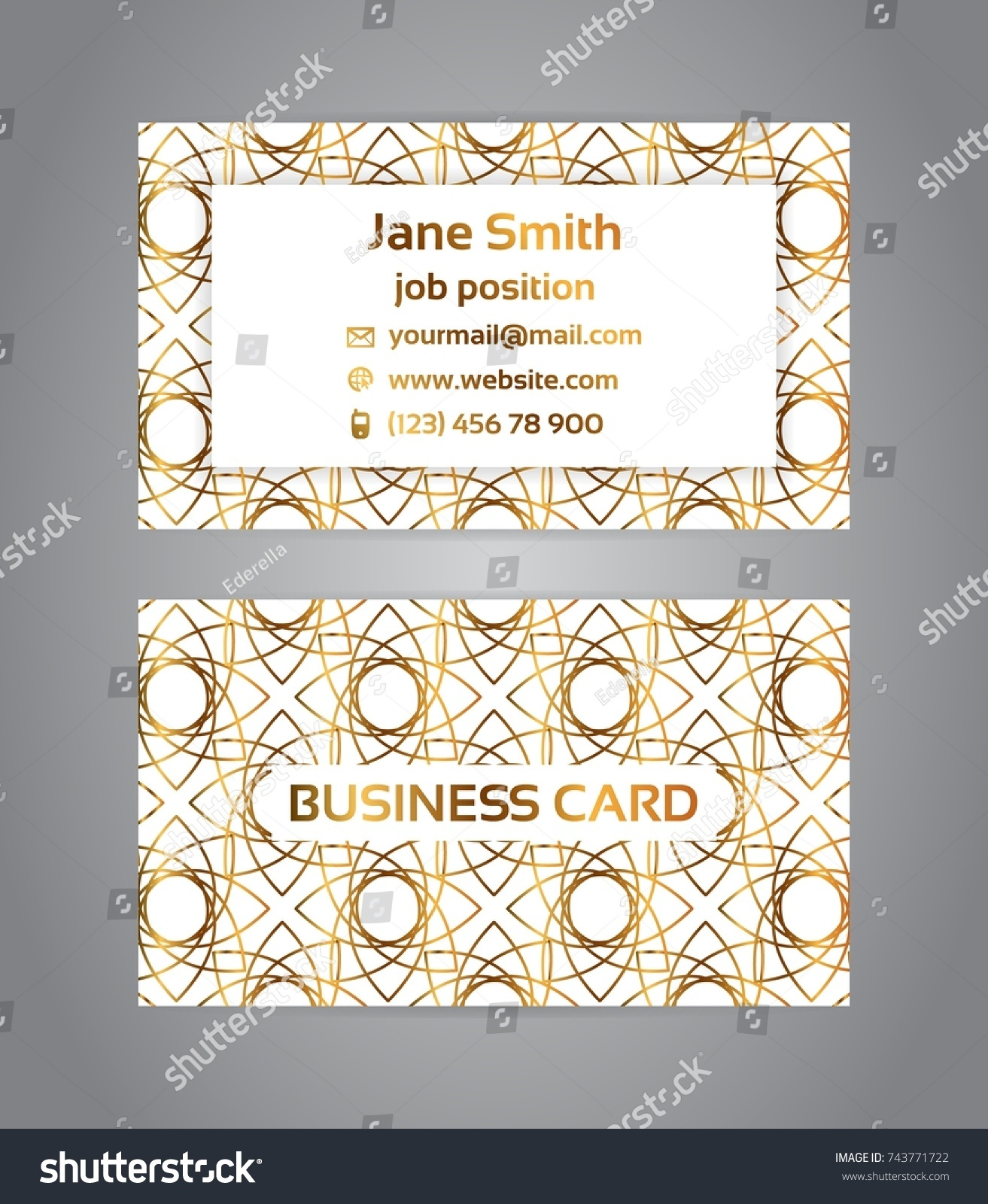 Two Sided Business Card Golden Metallic Stock Vector 743771722 ...