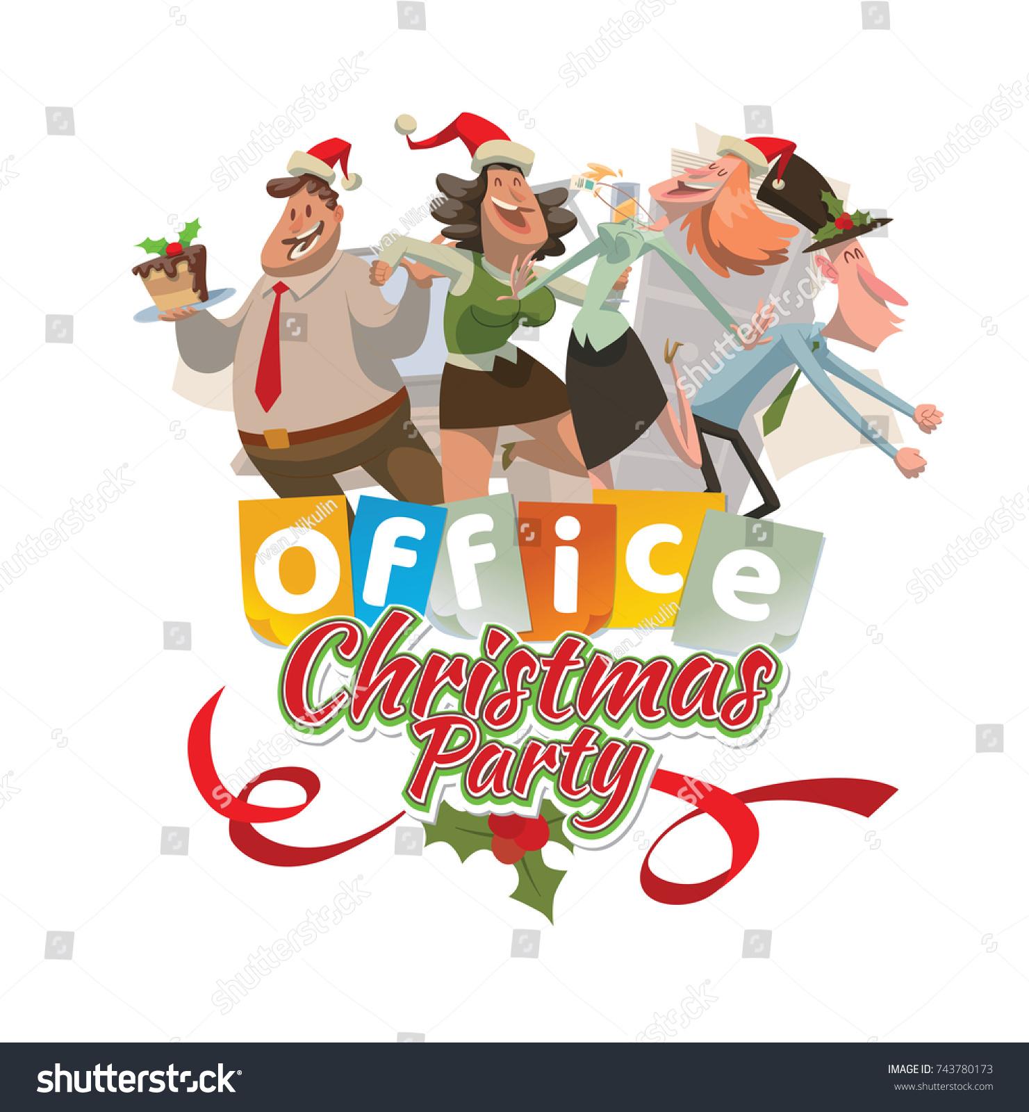 Vector Office Emblem Christmas Party Cartoon Stock Vector (Royalty ...